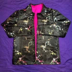 Vintage Traditional Asian Silky Floral Blazer